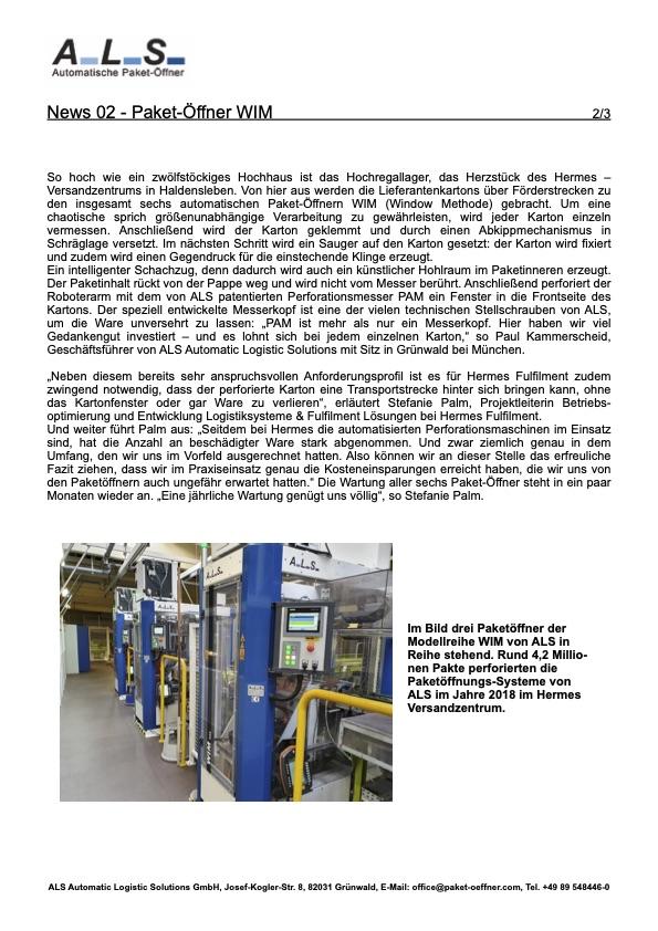 Hermes Lagerlogistikautomatischer Paketöffner Lager Logistik