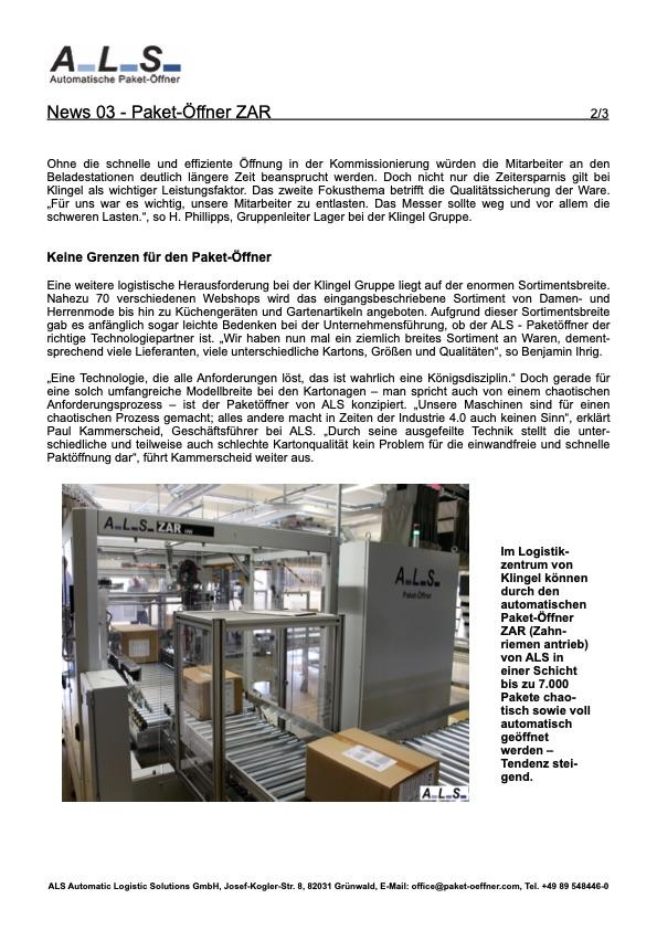Klingel Lagerlogistikautomatischer Paketöffner Lager Logistik