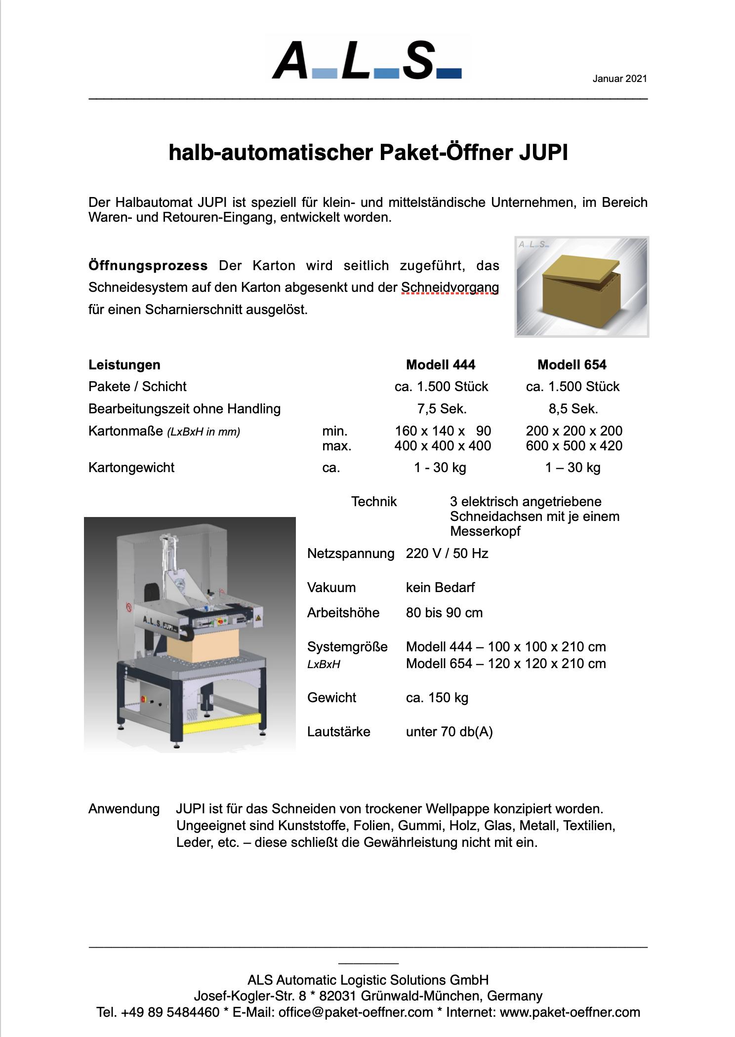 JUPI-halbautomatischer-Paket-Öffner-Datenblatt-V-1.01